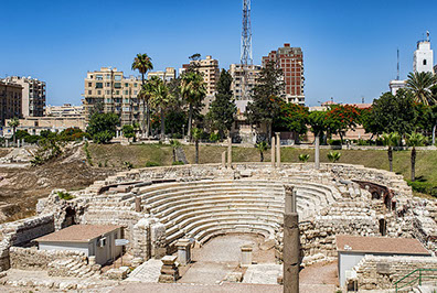 A Roman ancient theater site in Alexandria City in Egypt