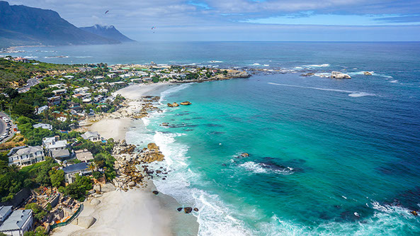 Aerial view of Clifton Beach in Cape Town, South Africa