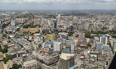 An aerial view of Dar es Salaam City, Tanzania