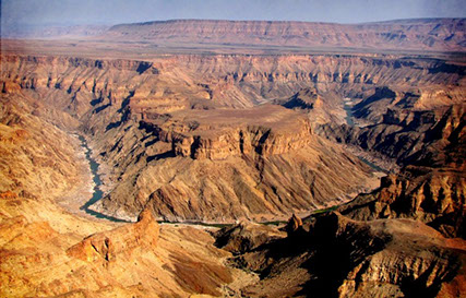 The Fish River Canyon is the largest canyon in Africa