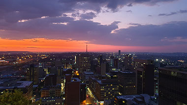 Night Sky view of Johannesburg City, South Africa