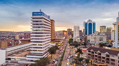 A skyline view of Kampala City, Uganda