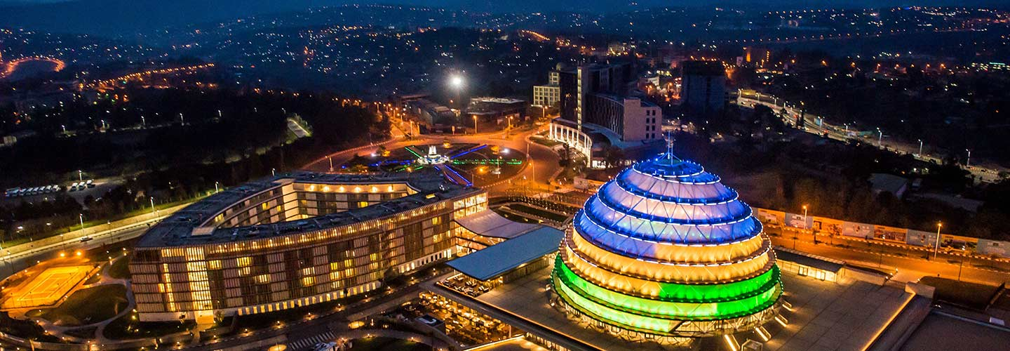 A glamourous view of Rwanda's Convention Centre in Kigali City, Rwanda