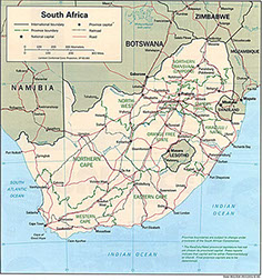 An image of the Current Political Map of South Africa