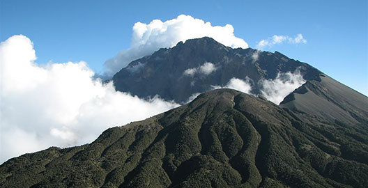 Mount Meru is a dormant stratovolcano mountain in Arusha national park