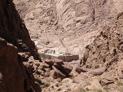 "A view of the historical Saint Catherine Monastery at the foot of Mount Sinai ""Jabal Musa"""