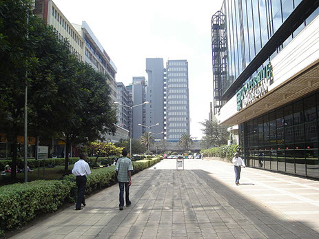 Street view of the Kenya Co-operative Bank in Nairobi City, Kenya