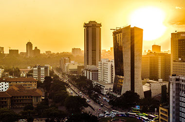 A Sunrise View of Nairobi City, Kenya
