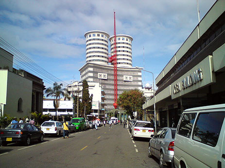 View of Nairobi City Street and the Headquarters of National Media Group