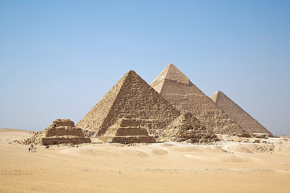 An overview image of the great pyramids of giza, Egypt