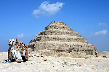 A stunning view of the pyramid of Djoser at the Saqqara Complex, Egypt