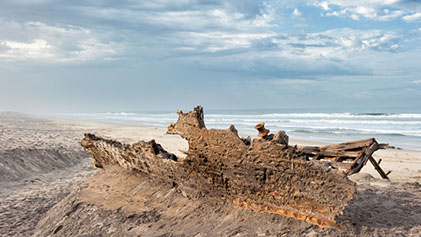 Countless shipwrecks abondoned in the Skeleton Coast Park in Namibia
