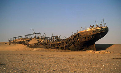 An image of a shipwreck in the Skeleton Coast park in Africa (Namibia)