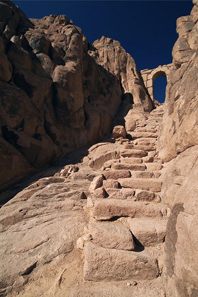 Climbing steps of Mount Sinai at St. Catherine Monastery, Egypt