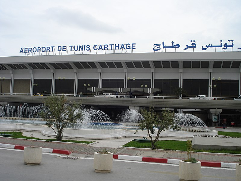 The Carthage International Airport in Tunis City in Tunisia