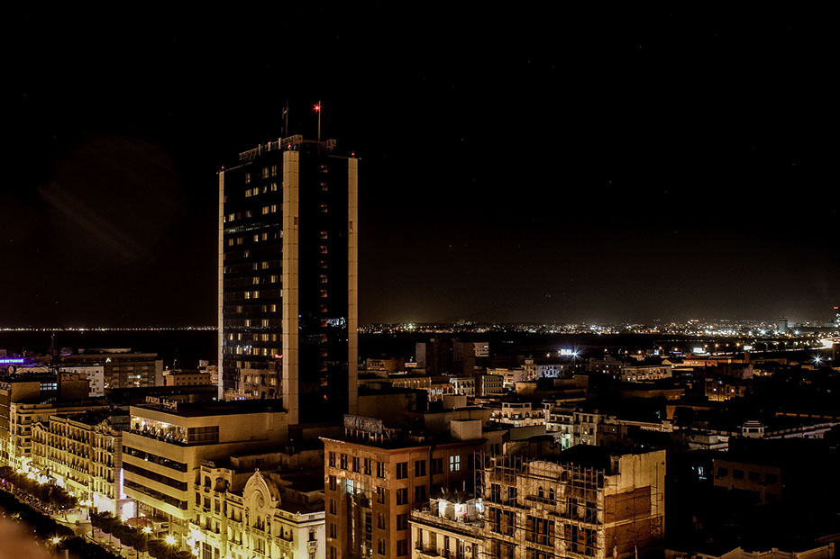 A night view of Tunis City, Tunisia