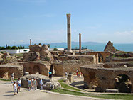Ruins of the Baths of Antoninus in Carthage, in Tunis City, Tunisia