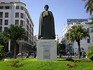 Statue of Ibn Khaldoun in Independence Square in Tunis City, Tunisia
