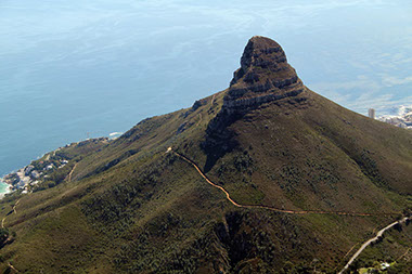 A beautiful view of the Lions Head in Table Mountain National Park, South Africa