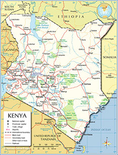 An image of the current Map of Kenya