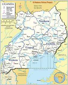 An Image of the current map of Uganda