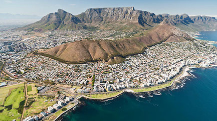 A stunning image of Table mountain and Cape Town, South Africa