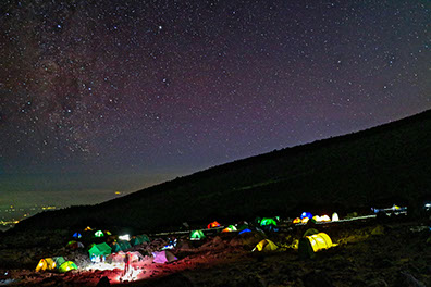 a breathtaking image of night campers gazzing at the night sky