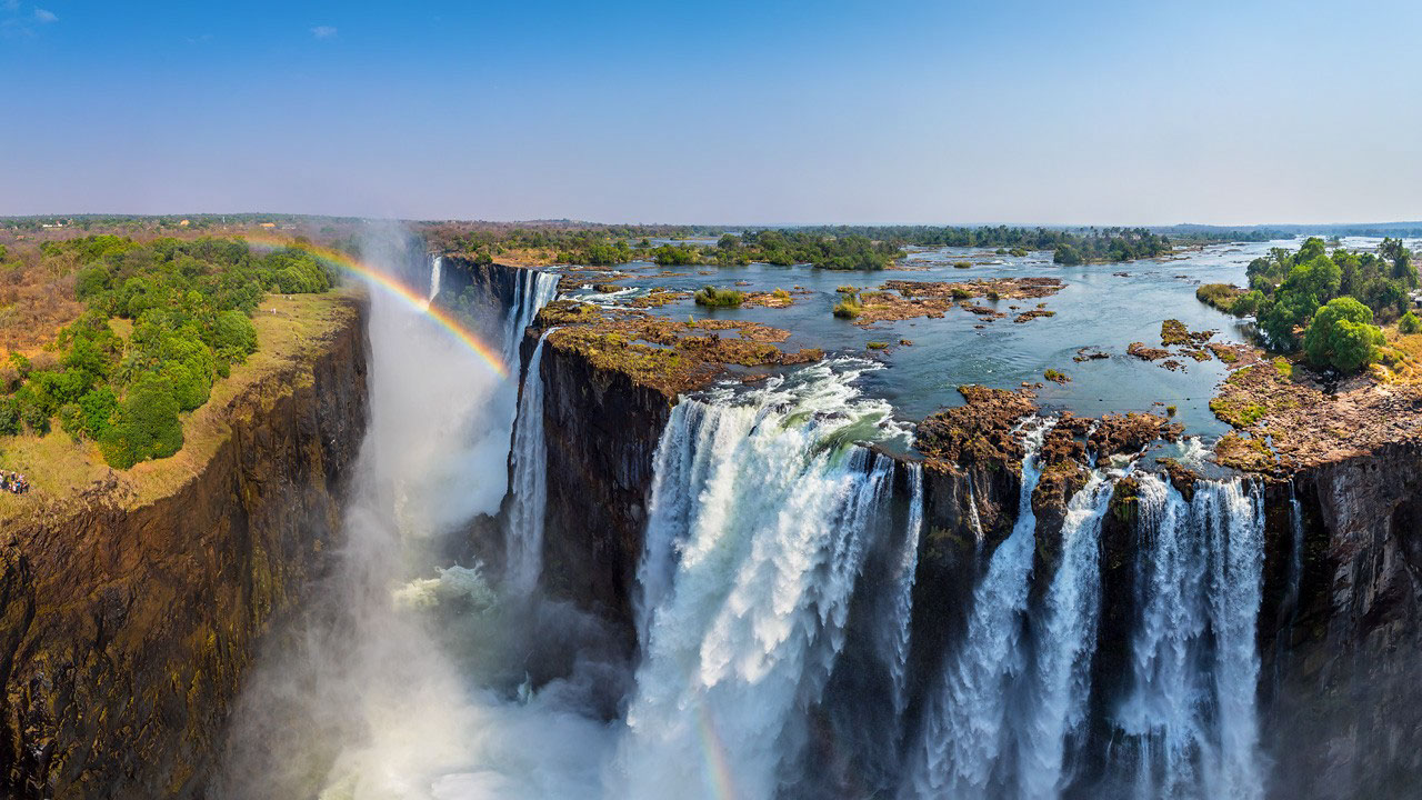 A breathtaking view of the mighty Victoria Falls in Zimbabwe