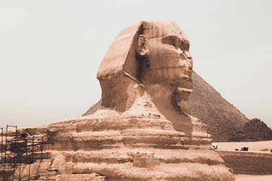 The Sphinx and the Temple of the Sphinx in Giza, Egypt