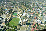 An aerial view of Namibia's Independence Memorial Museum, in Windhoek City, Africa
