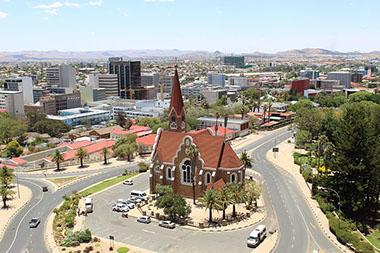 A view of Christuskirche Church in the middle of Windhoek City, Namibia
